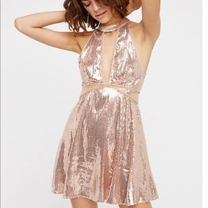 NWT Free People Rose Gold Sequin Dress Size 2